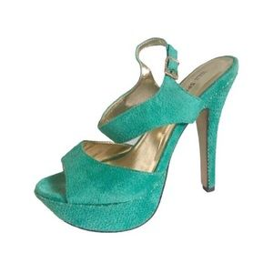 Call It Spring Teal Green Faux Suede High Heels